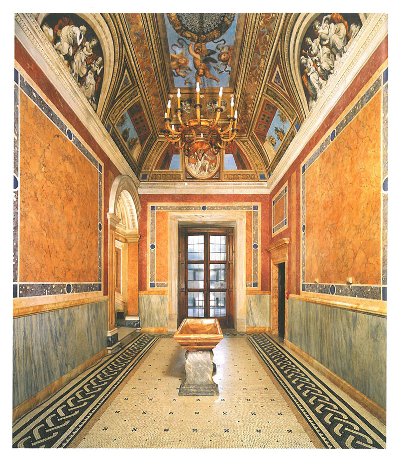 The Entry Hall. This entry vestibule was created in 1861--1863 by architect Antonio Cipolla. The frescoes on the vault were painted by Ludovico Seitz. Image courtesy of LA VILLA FARNESINA A ROMA, published by Franco Cosimo Panini.