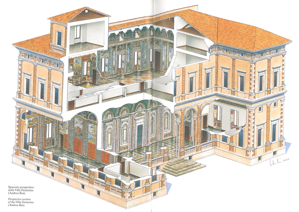 Perspective Section of Villa Farnesina, as seen from the east, and north sides. On the ground floor, to the left: The Loggia of Galatea. On the ground floor, in the center: The Loggia of Cupid & Psyche. On the higher floor, in the center: The Hall of Perspective Views. Image courtesy of LA VILLA FARNESINA A ROMA, published by Franco Cosimo Panini.