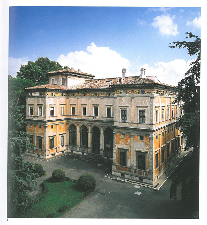 The north facade of the Villa Farnesina. Unfortunately, the extensive gardens on this side of the Villa aren't open to the public. Behind the arches on the ground floor is the Loggia of Cupid & Psyche. Image courtesy of LA VILLA FARNESINA A ROMA, published by Franco Cosimo Panini.