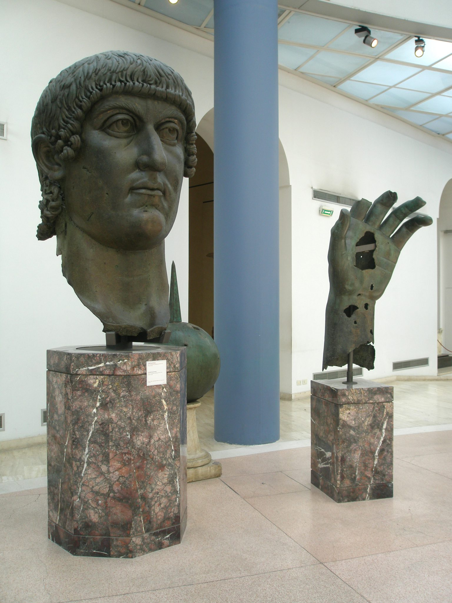 Fragments from the colossal bronze of Constantine: head, globe & hand (4th century AD)