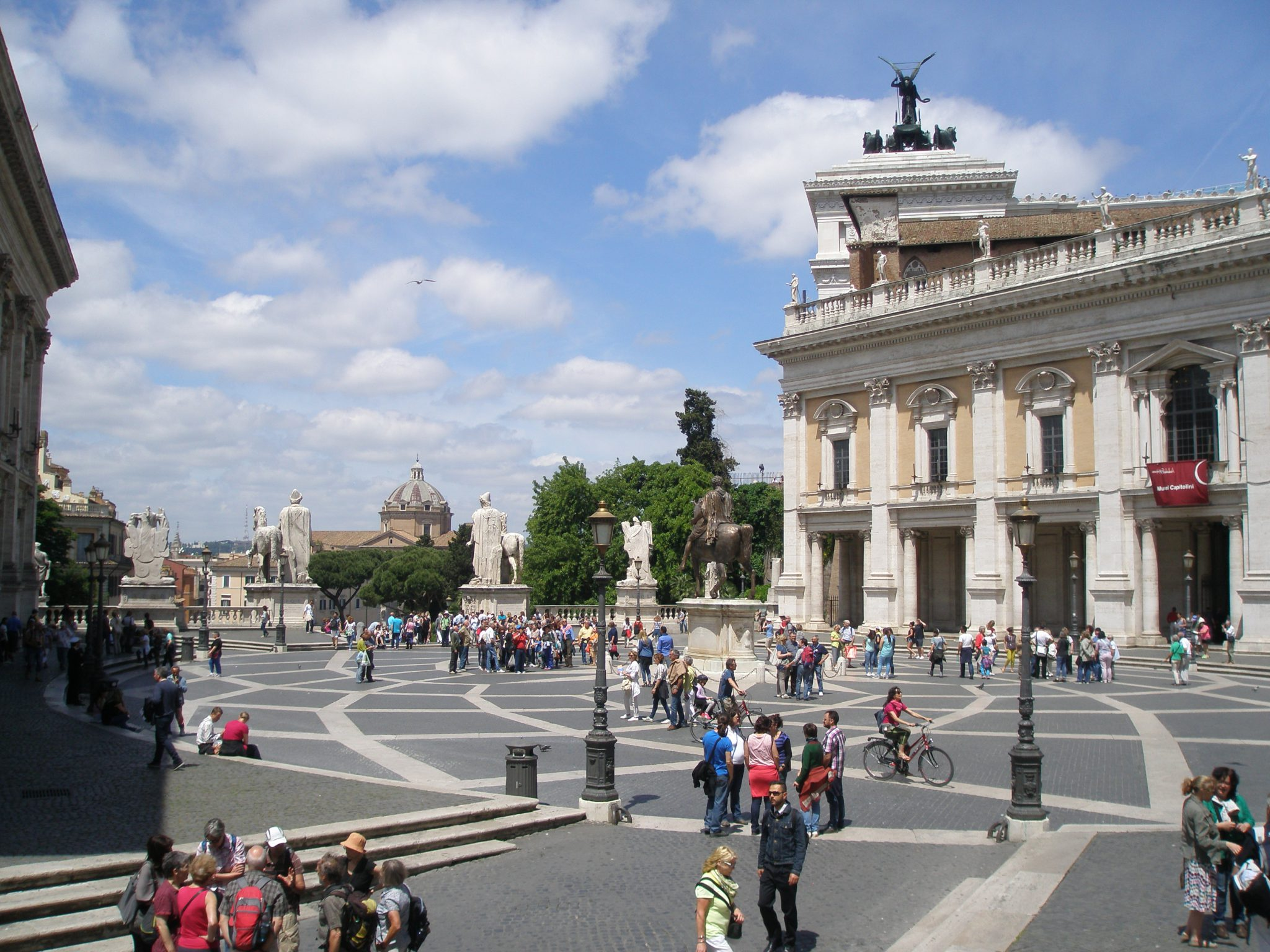 Michelangelo's Piazza del Campidoglio, seen from the steps of the Palazzo Senatorio (which rests above the Tabularium).