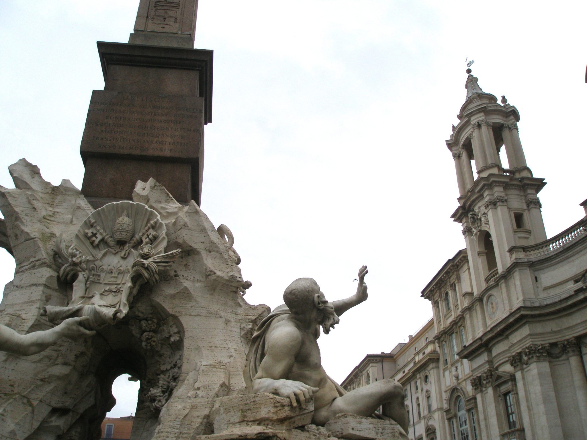 Bernini's figure of the Rio della Plata, with a tower by Borromini looming overhead.