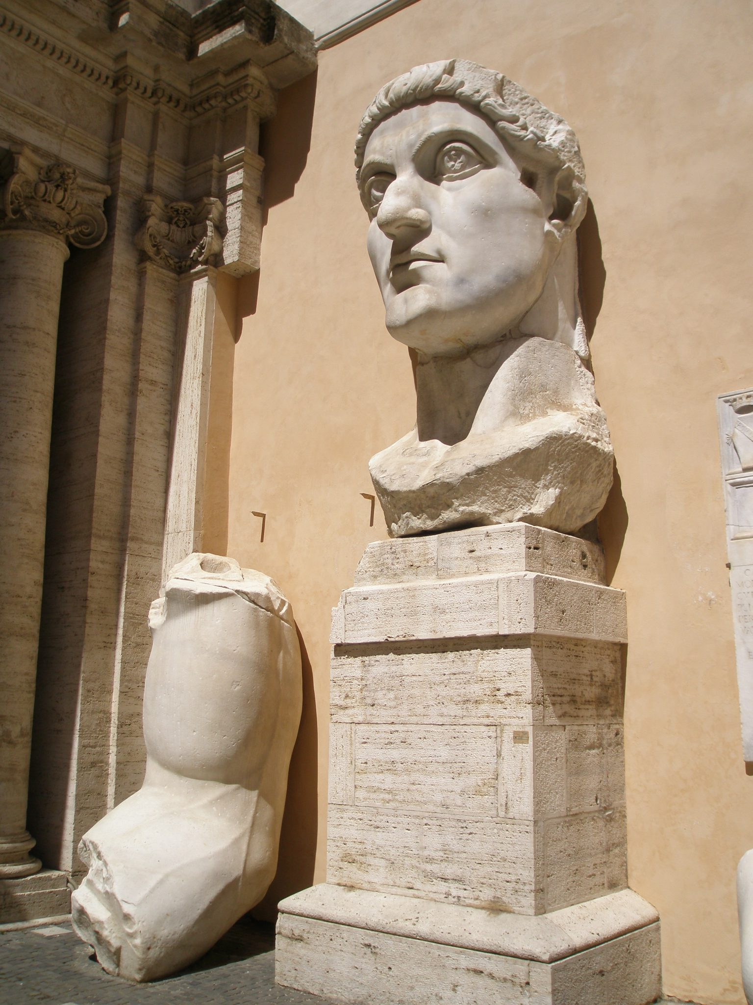 Various bits of the gigantic stone statue of the Emperor Constantine (created circa 313AD--324AD)