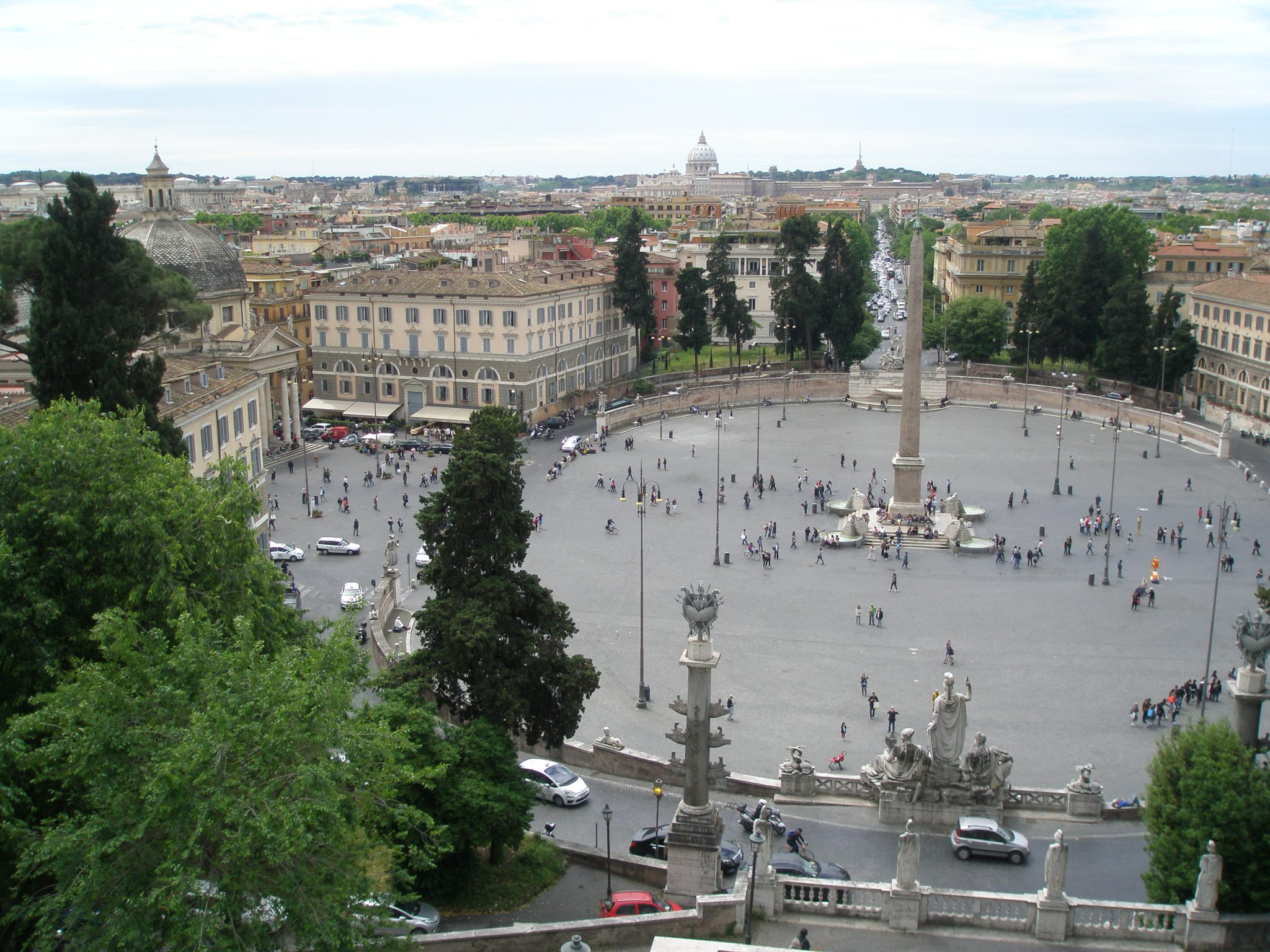 Our view from Piazzale Napoleone, down to Piazza del Popolo.