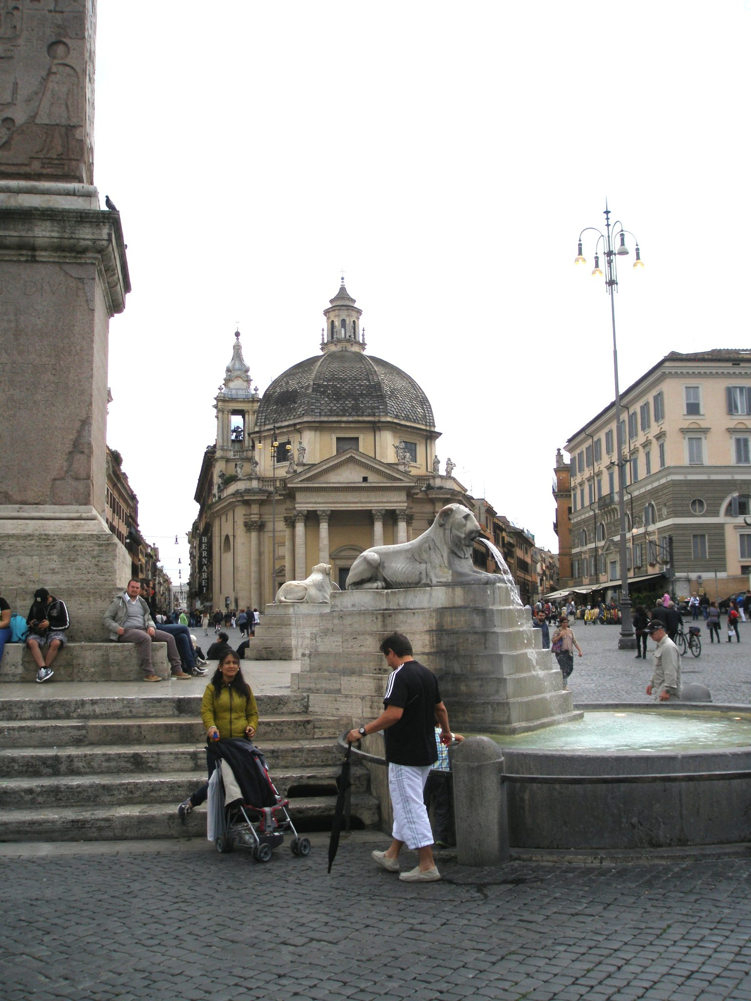 One of the four lions of the Fontana dell' Obelisco. The Church of Santa Maria dei Miracoli (built in 1681) is in the background.