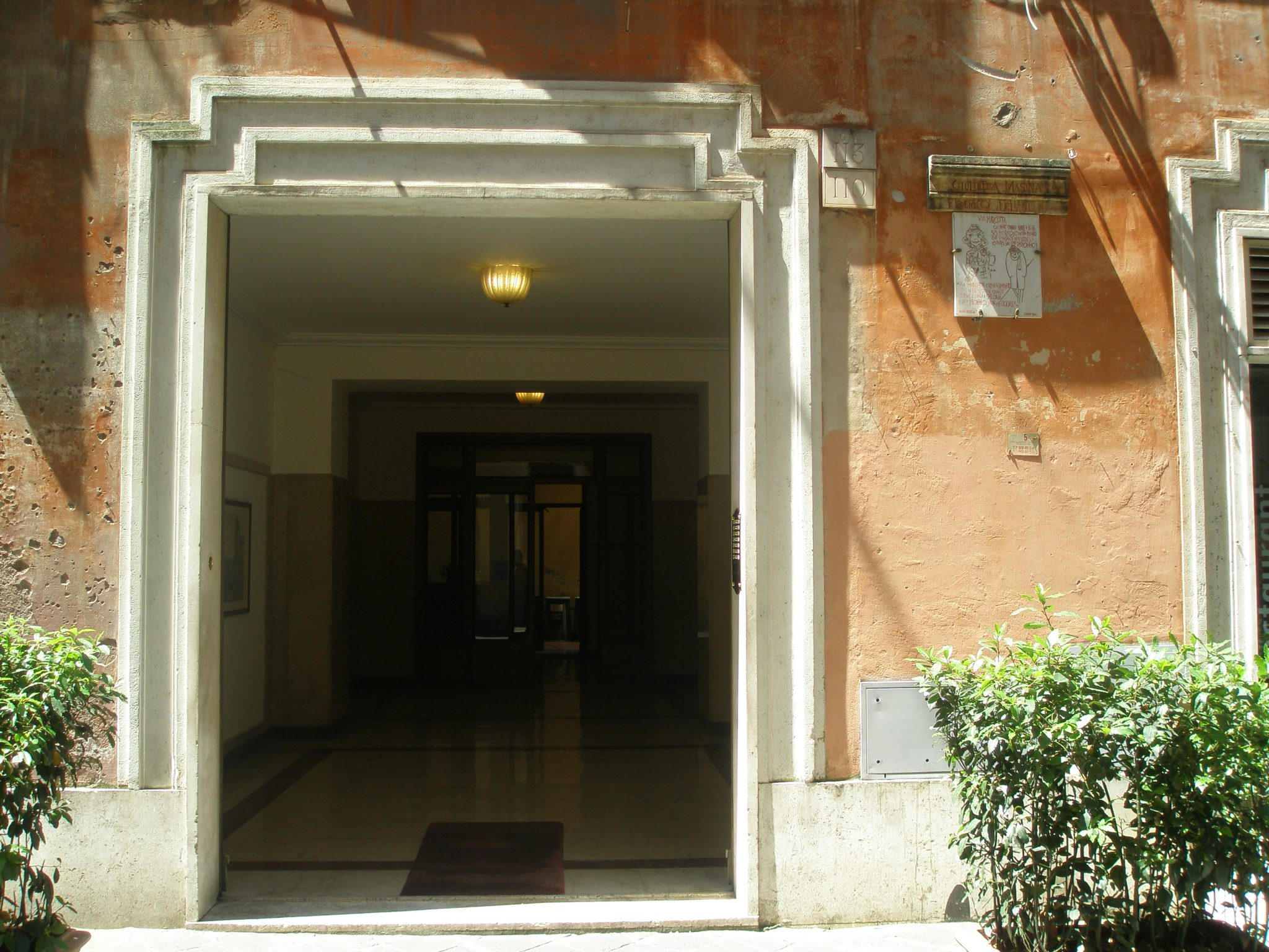 Entrance to Masina and Fellini's apartment building on Via Margutta