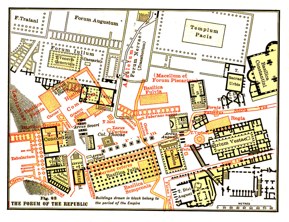 Buildings drawn in RED were built during the Roman Republic (509BC--27BC). Buildings drawn in BLACK were built during the Roman Empire (27BC--476AD). The existing ruins generally date from the final, Imperial period.