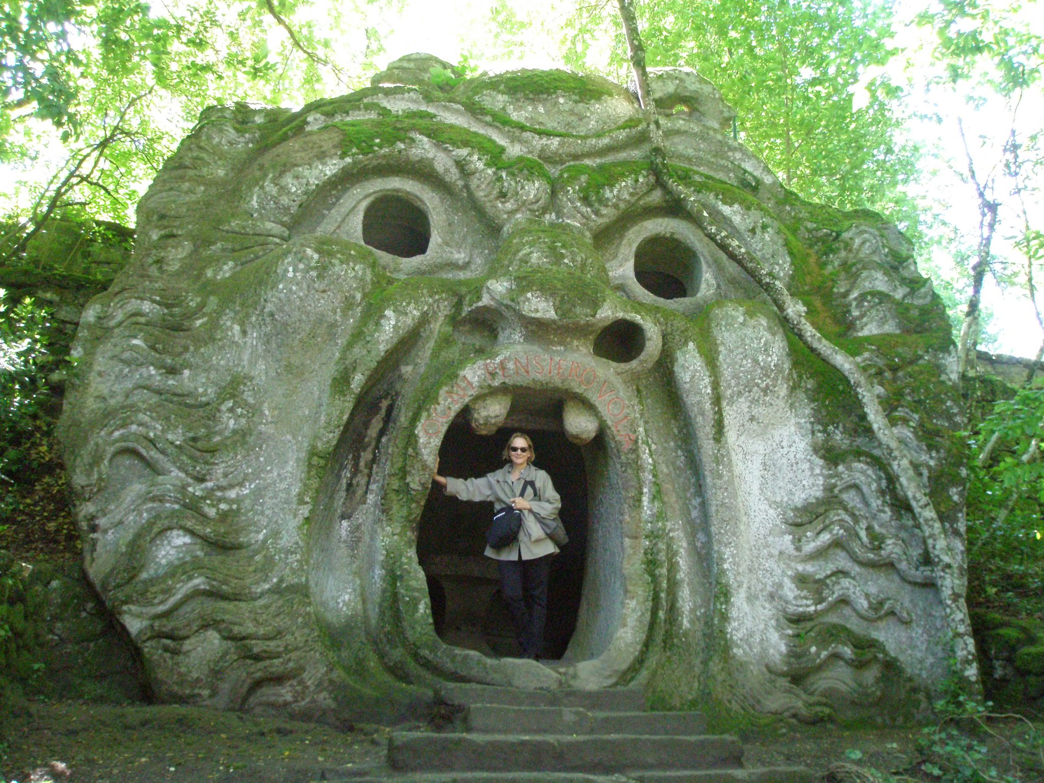 Nan, in the mouth of the Ogre, at the garden of Sacro Bosco ( or Sacred Wood ). This one-of-a-kind garden, in Bomarzo, Italy, was begun in 1552. Photo taken on May 14, 2014.