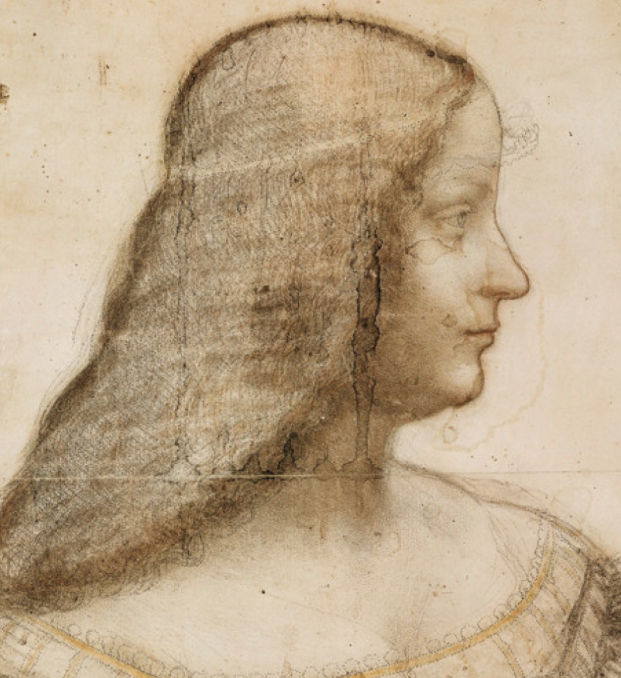 "Leonardo da Vinci's drawing of Isabella d'Este. Isabella, Marchioness of Mantua, was often called ""The First Lady of the Renaissance."" She lived from 1474 until 1539. In 1525 she set up household in Rome, so as to be near to her son Ercole, who became one of the most powerful cardinals of the Catholic Church."
