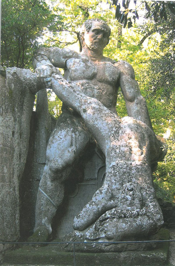 The Mannerist Style turned Classical rules of art--about proportion & depiction--upside down. One stone giant thrashes another, at the Sacro Bosco (known as the Sacred Wood, and also as The Park of the Monsters), in Bomarzo. Image courtesy of THE GARDEN AT BOMARZO, by Jessie Sheeler.
