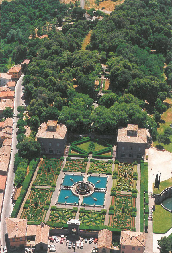 Aerial View of the Gardens of Villa Lante. Image courtesy of Il Pegaso Bookshop, in Bagnaia.