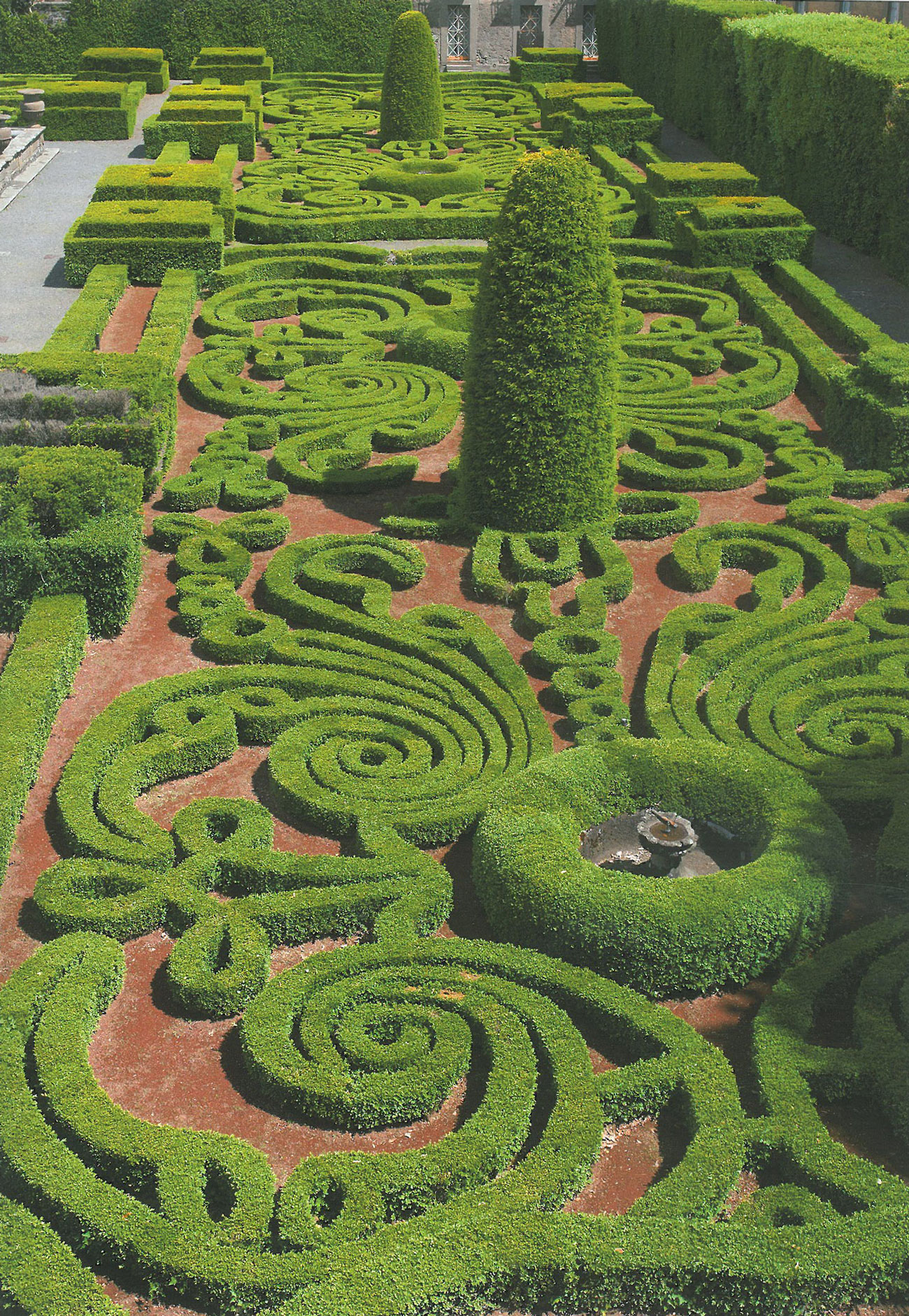 Curlicues Galore, on a sunny day, in the Fountain of the Moors gardens. Image courtesy of Il Pegaso Bookshop, in Bagnaia.