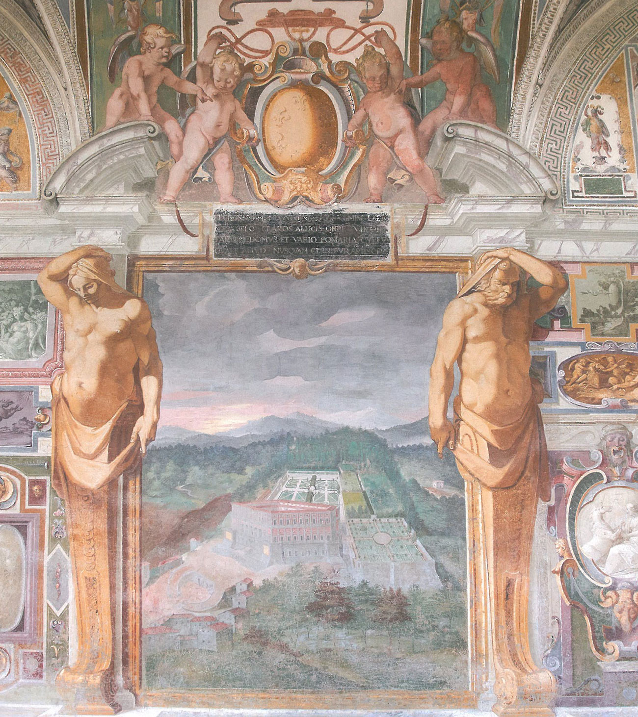 Palazzina Gambara Loggia. A depiction of the gardens of Villa Farnese, in nearby Caprarola. Image courtesy of Il Pegaso Bookshop, in Bagnaia.