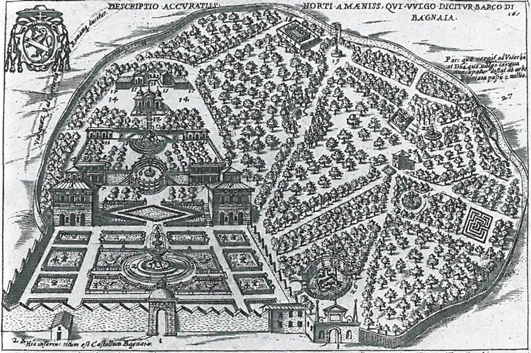 Engraving of Villa Lante, by G.Lauro, done in 1612--1614. Image from THE ARCHITECTURE OF WESTERN GARDENS, courtesy of The MIT Press.