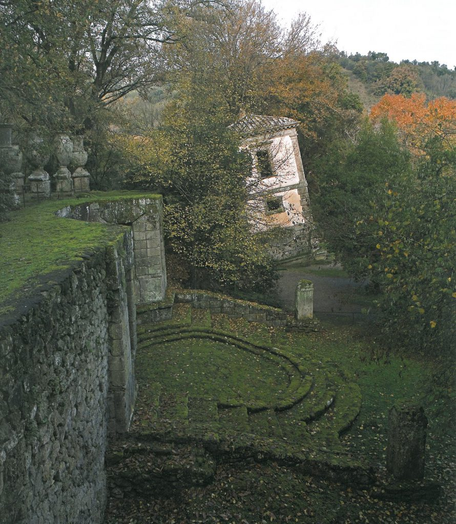 A view of the Theatre, from above. The Leaning House is in the background. Image courtesy of THE GARDEN AT BOMARZO, by Jessie Sheeler.