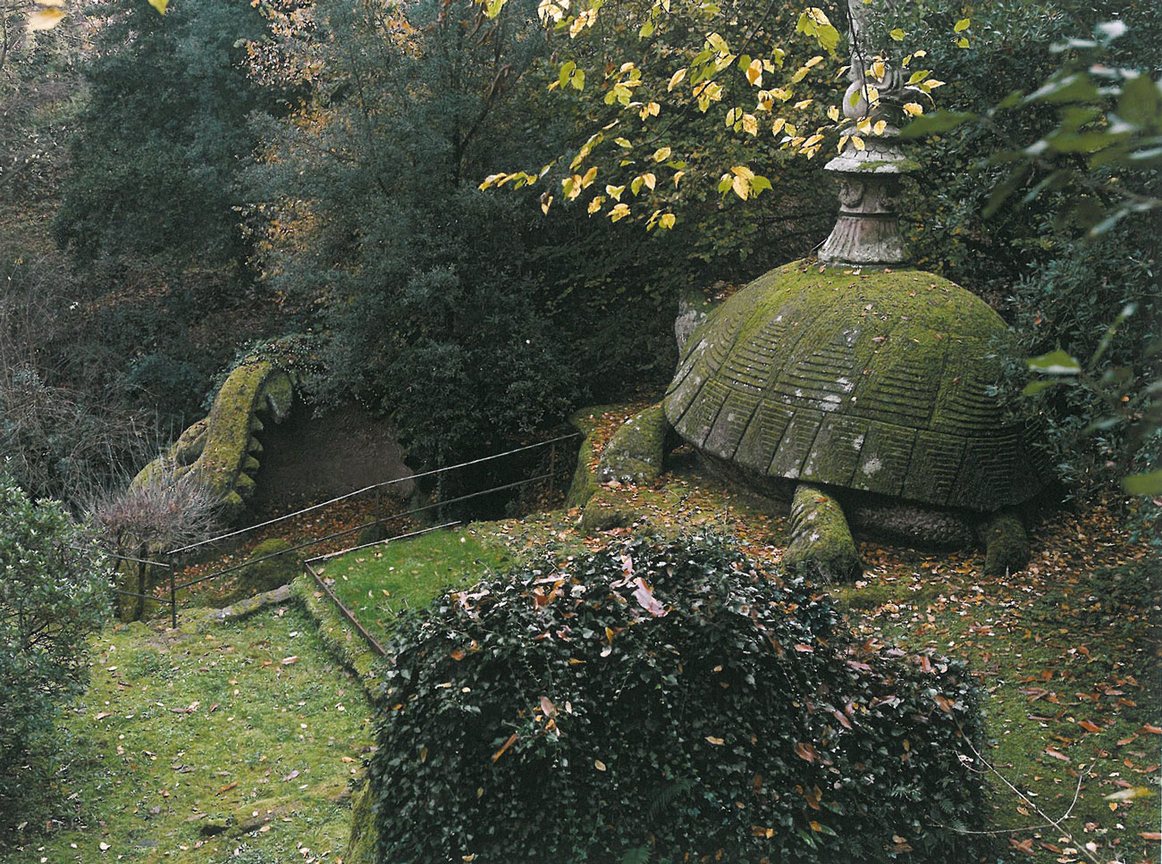 View from above of The Tortoise, and the nearby Whale's Mouth. Image courtesy of THE GARDEN AT BOMARZO, by Jessie Sheeler.