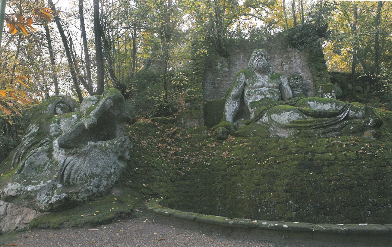 Neptune is kept company by a Jolly Dolphin. Image courtesy of THE GARDEN AT BOMARZO, by Jessie Sheeler.