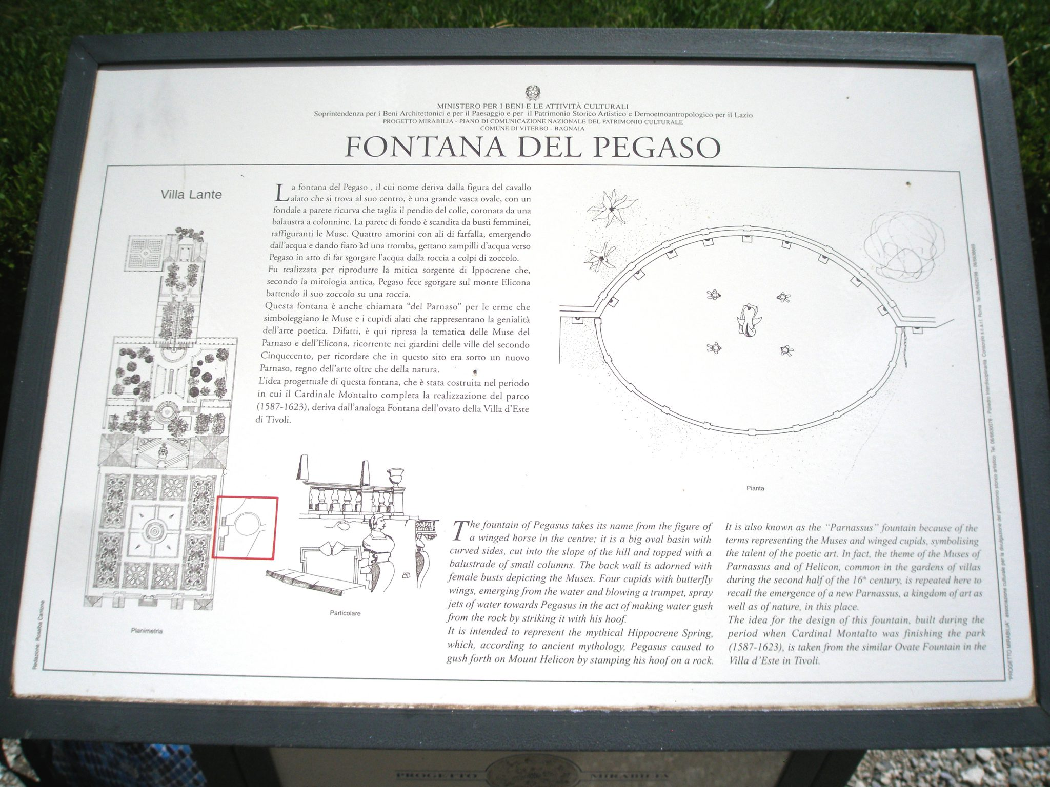 Sign at the Pegasus Fountain