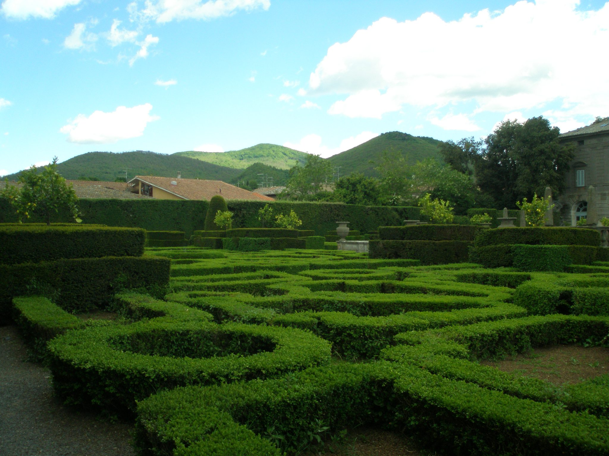The Parterre in the Fountain of the Moors garden, with distant hills...