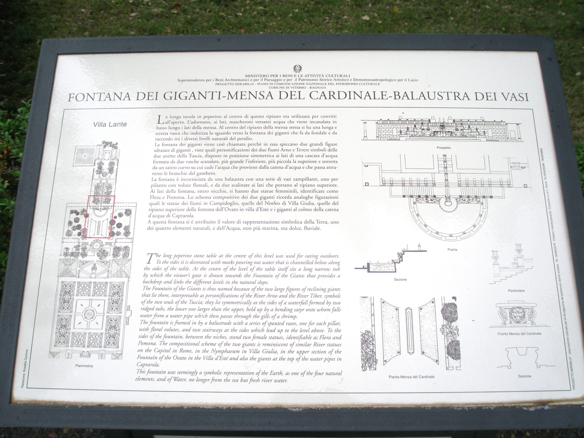 Diagram of The Fountain of the Giants AND of The Cardinal's Table
