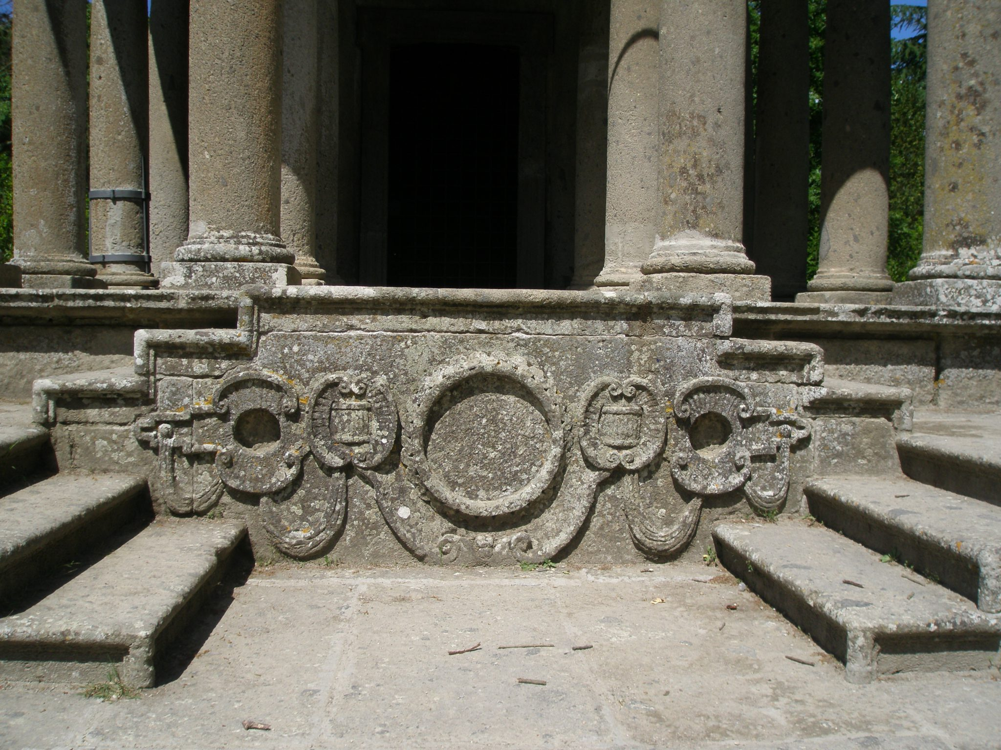 The Temple was carved from Tufa Stone, found on site. These are the front steps.