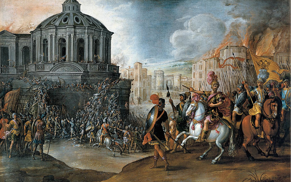 """The Sack of Rome in 1527."" Painted during the 1600s by Johannes Lingelbach, a Dutch genre artist who worked in Rome."