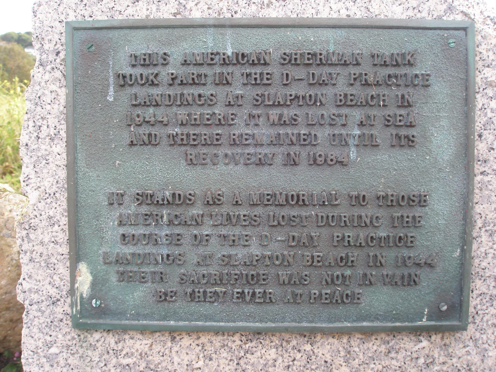 Sherman Tank plaque