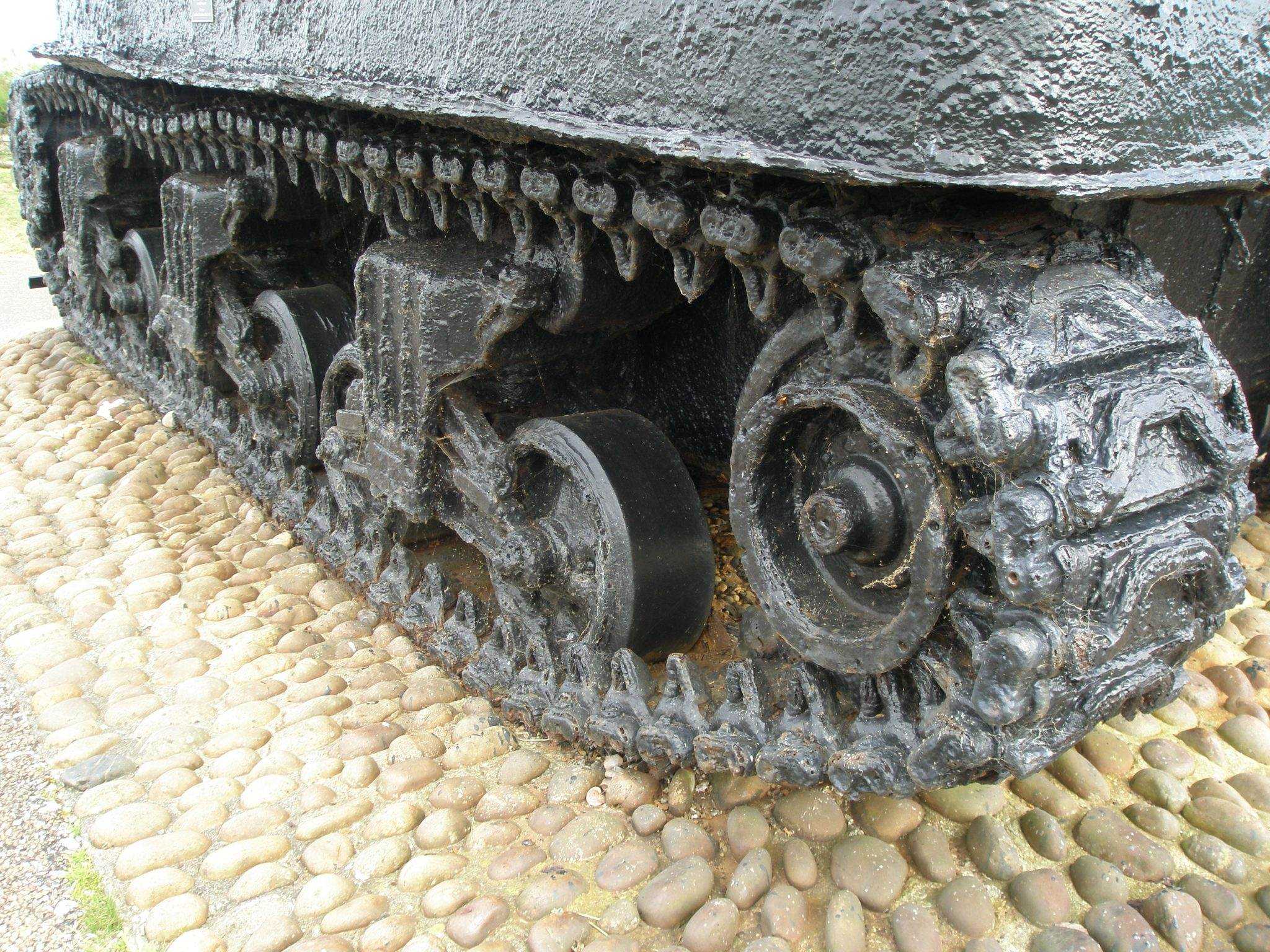 Detail of the Sherman Tank, which is in remarkably good condition, despite having been for decades under seawater.