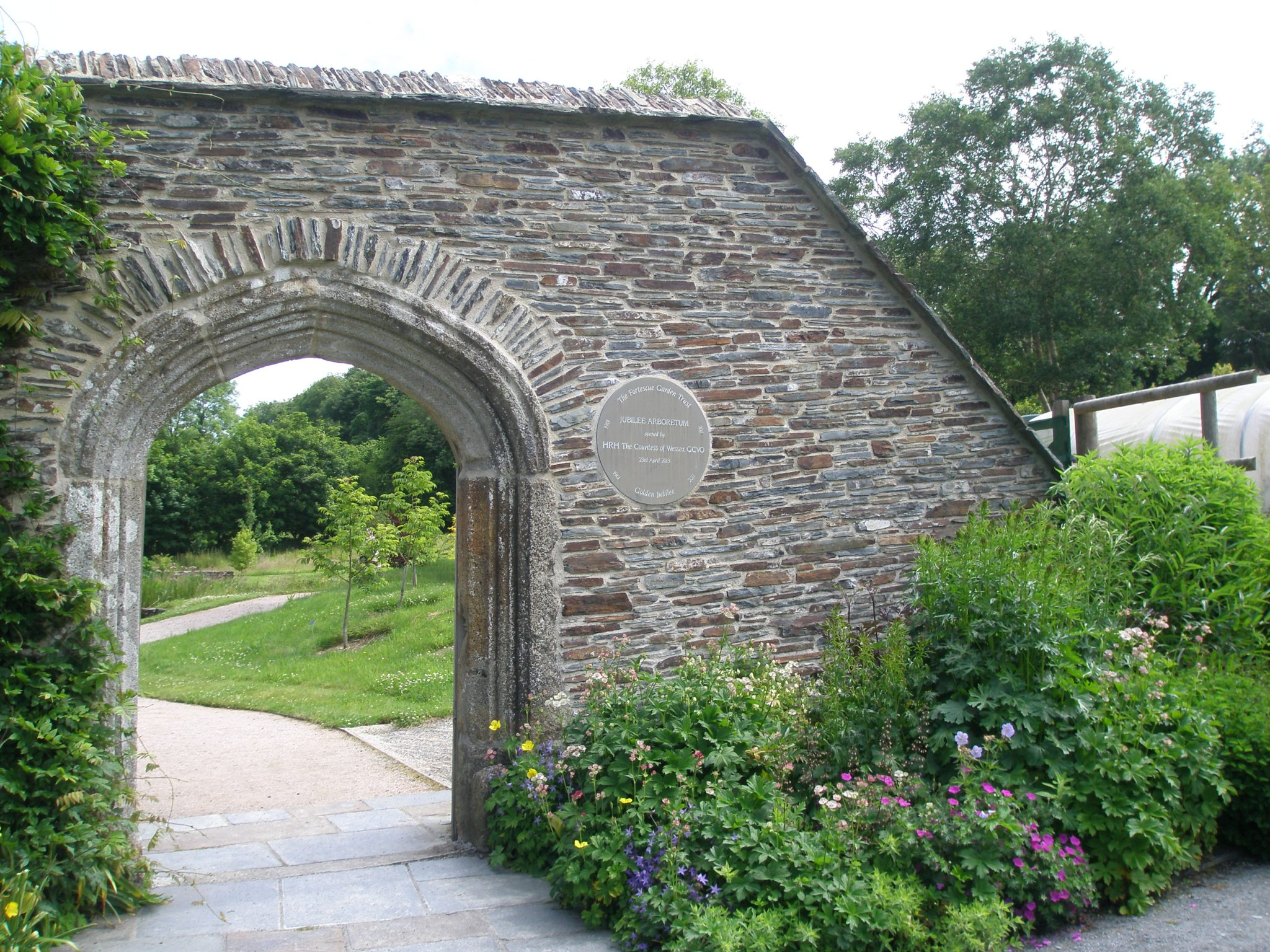 At the eastern end of the Bottom Terrace Garden: the gate to the newly-established Jubilee Arboretum.