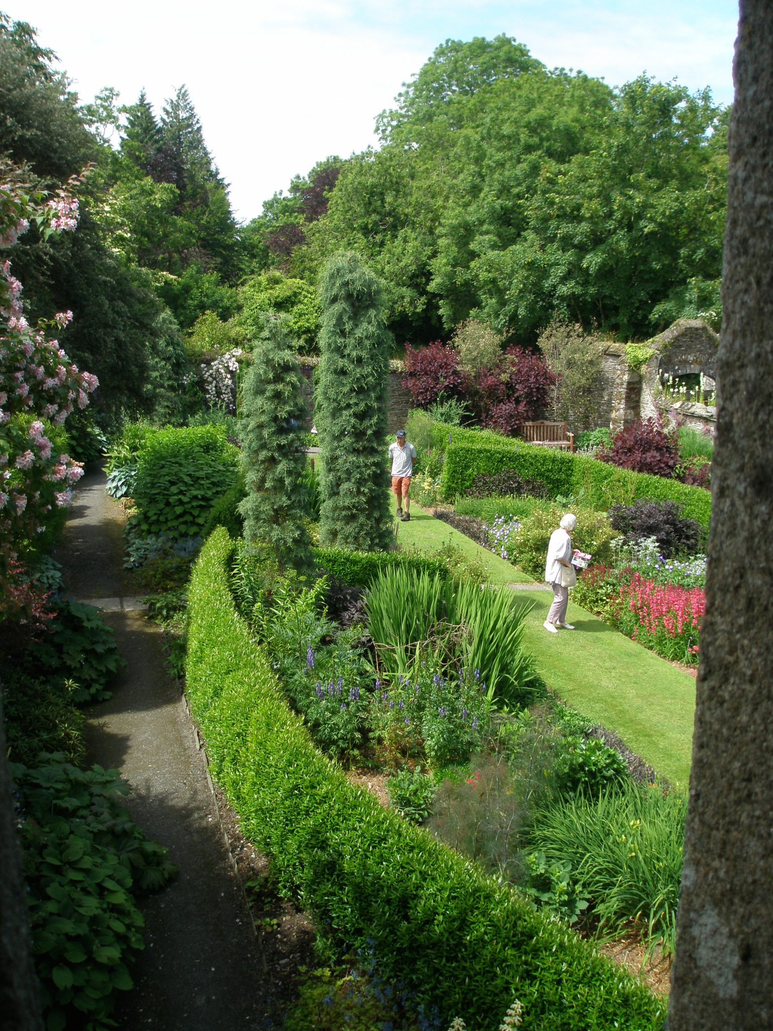 View from inside the Tower, westward, over the Bottom Terrace Garden