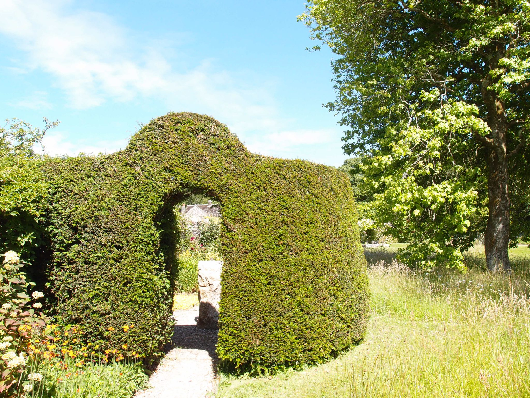 A green archway at the western end of the Cider House Garden