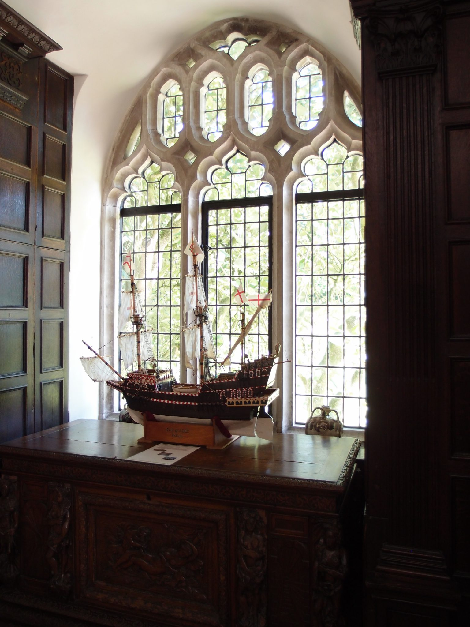 Upstairs, in the Drake Chamber: A Ship Model. Nothing in this space is original to the time when Drake made the Abbey his home.