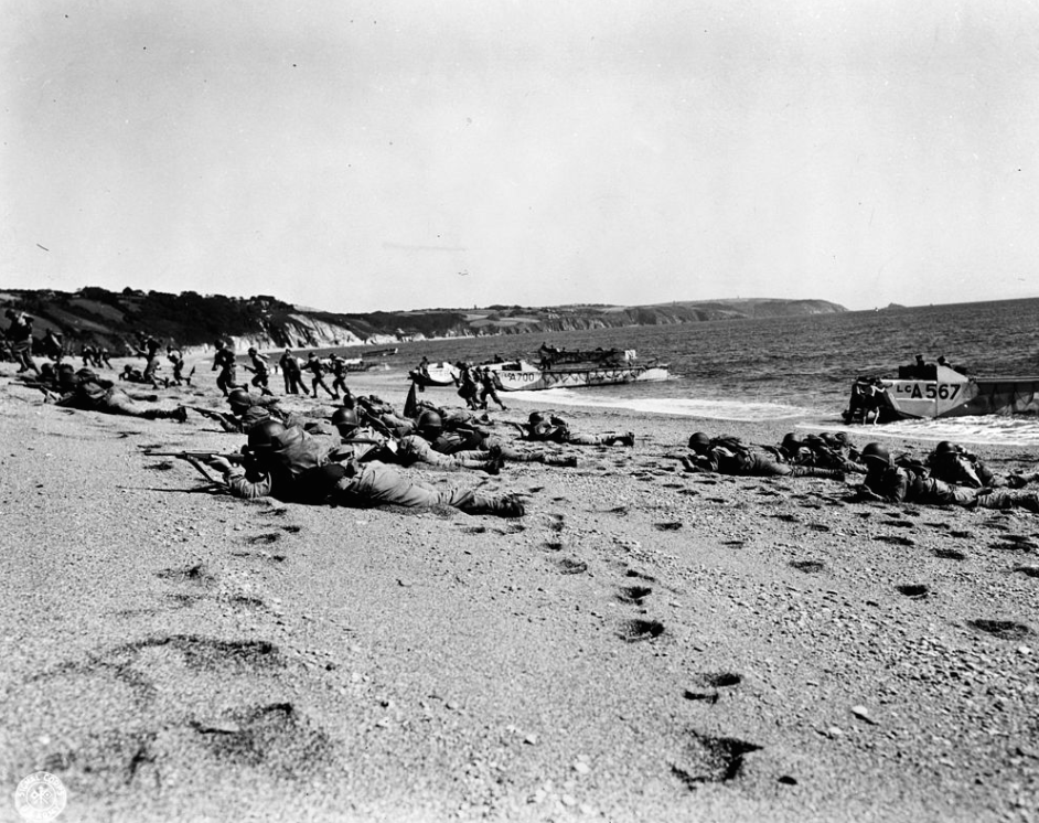 American Troops making practice landings on Slapton Sands, during rehearsals for the invasion of Normandy. Photo courtesy of Wikipedia.
