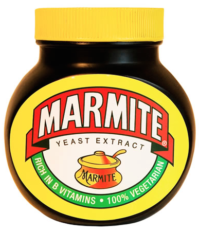 "Marmite, in my Yankee's-opinion, is the black, gooey, salty spread which the English use to ruin their morning toast….utterly revolting! When a Brit describes something as ""a bit Marmite,"" he's talking about an acquired taste."