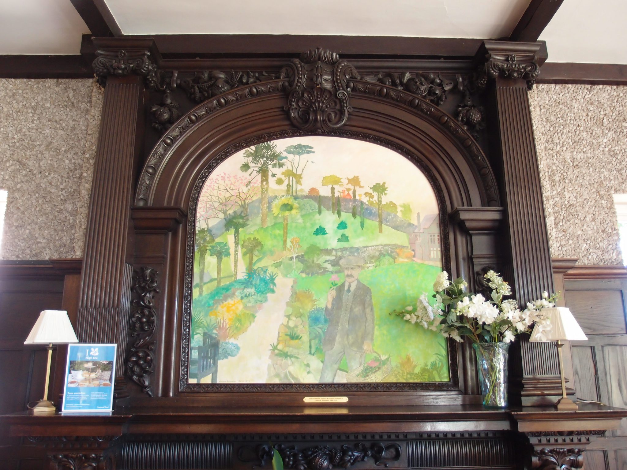 Inside the Tea Room proper, this painting by Leonard Rosoman, of Otto Overbeck in his garden, adorns the mantle.