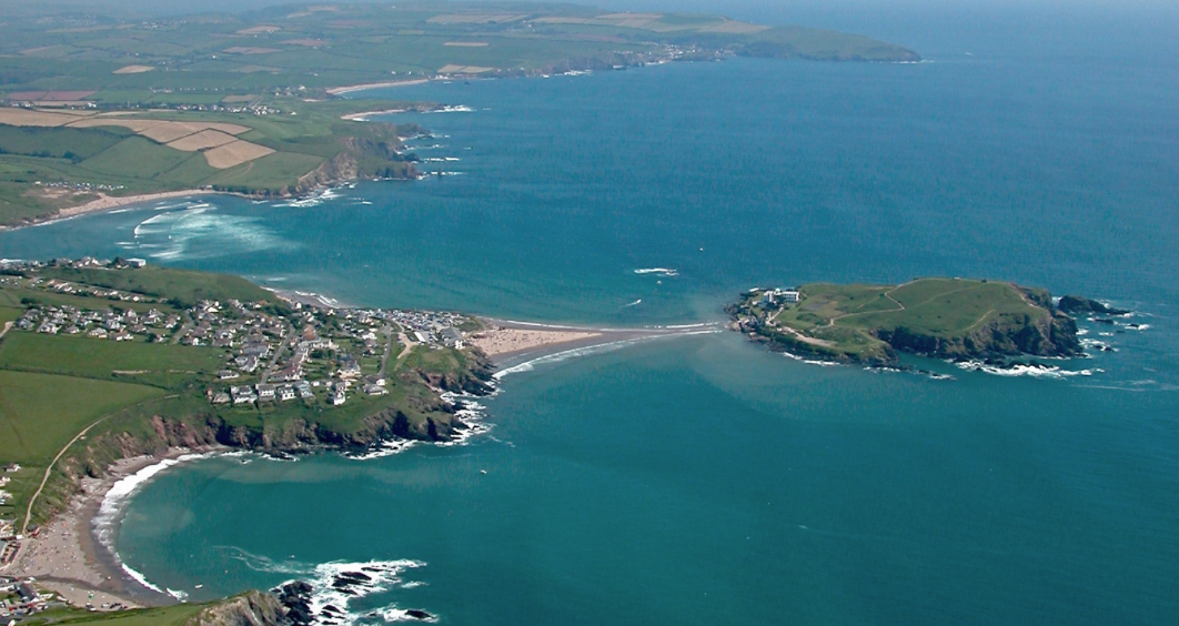 Aeriel view of Bigbury Bay and Burgh Island