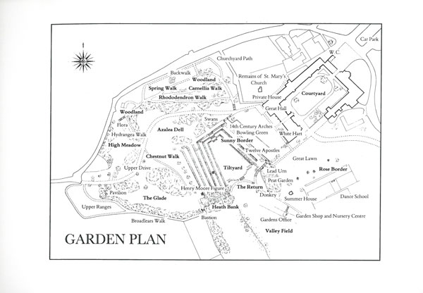 Plan of the Gardens at Dartington Hall. Image courtesy of Dartington Hall.