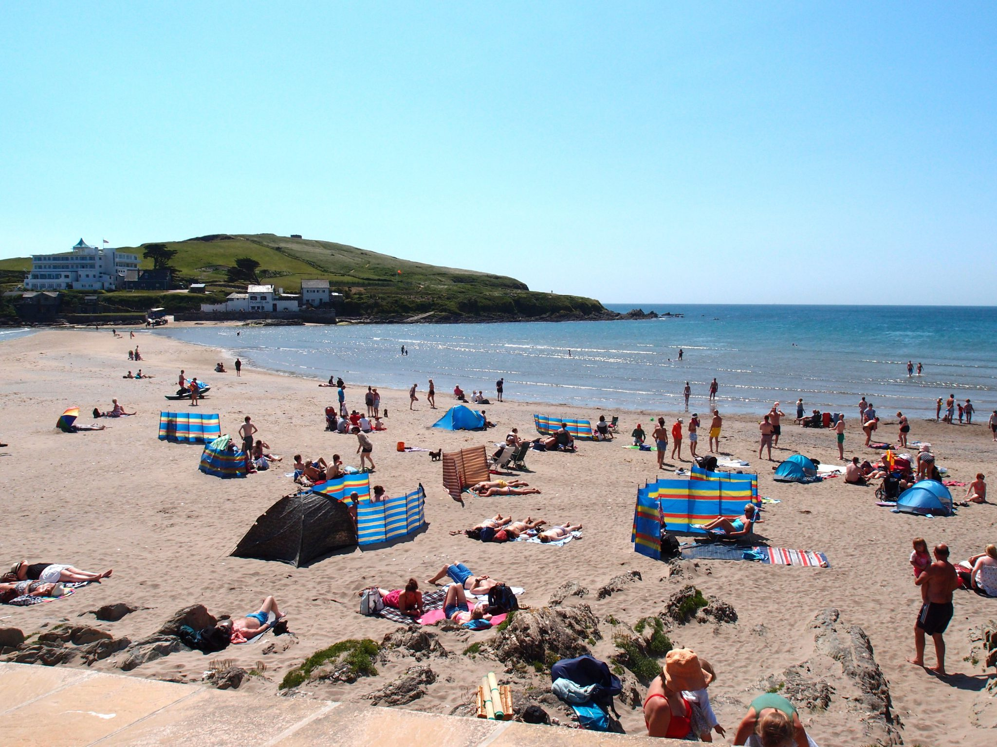 Sun Worshippers at Bigbury-on-Sea-Beach. This beach is the largest sandy beach in Southern Devon.