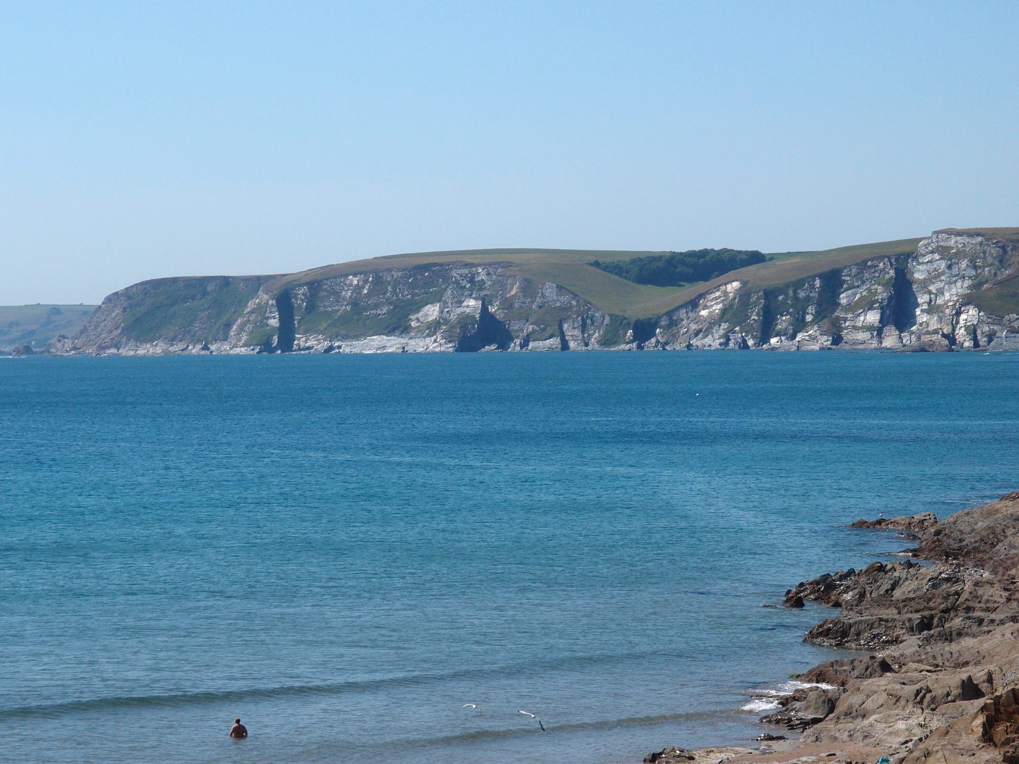 Cliffs along Bigbury Bay: a designated Area of Outstanding Natural Beauty.
