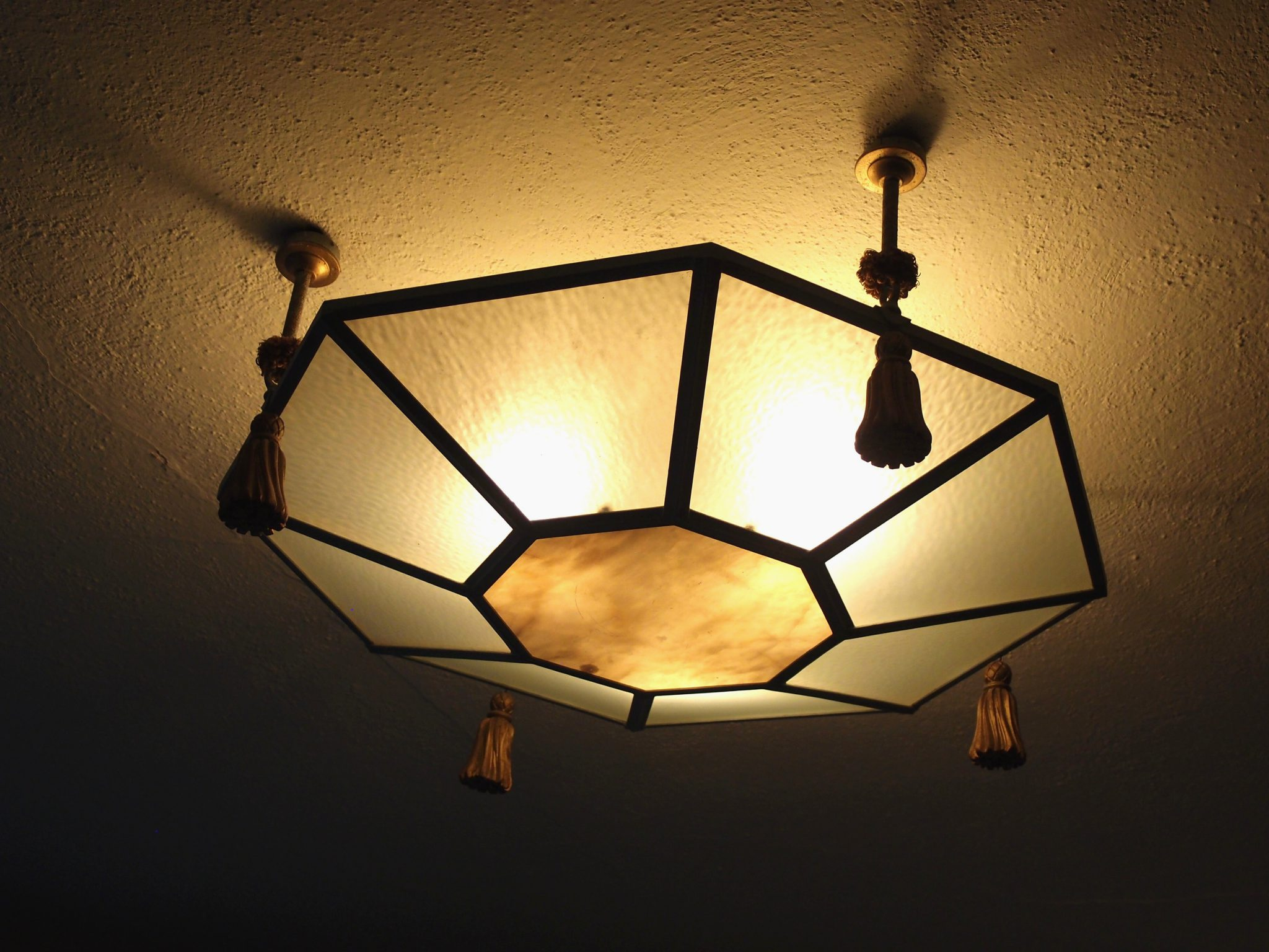 Turret Guest Bedroom's original ceiling light fixture