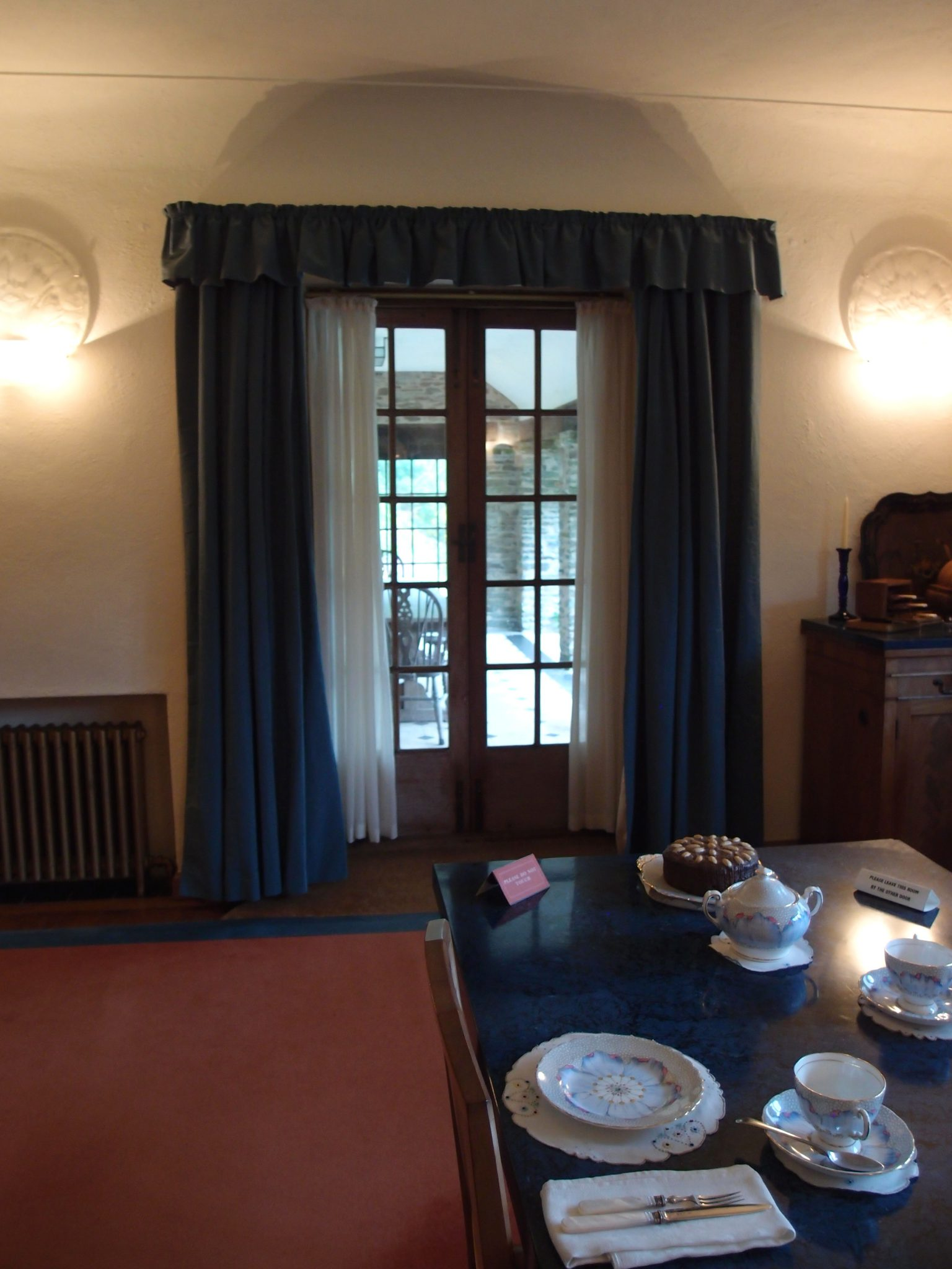 View of Loggia, through the Dining Room's French doors