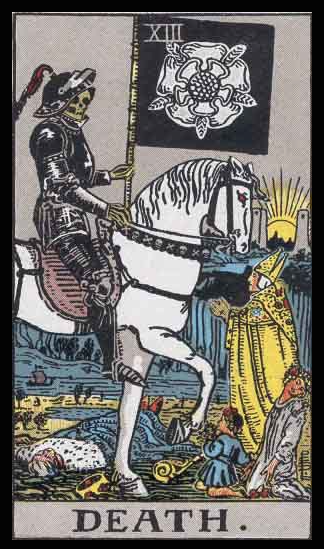 "Death, Card XIII of the Tarot. Per Niki: ""Death. The great mystery. Without death, life would have no meaning. Death, the Great Reaper, allows new blossoms to grow. The card of death is a card of Renewal."""