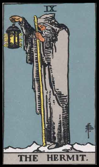 """The Hermit, Card IX of the Tarot. Per Niki: """"The Hermit is an experienced wanderer searching for a spiritual treasure. The card implies that the most important lessons are learned through the heart."""""""