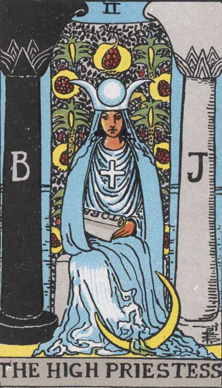 "The High Priestess, Card II of the Tarot. Per Niki: ""The High Priestess of Intuitive Feminine Power. This feminine intuition is one of the keys of wisdom. She represents the irrational unconscious with all its potential."""