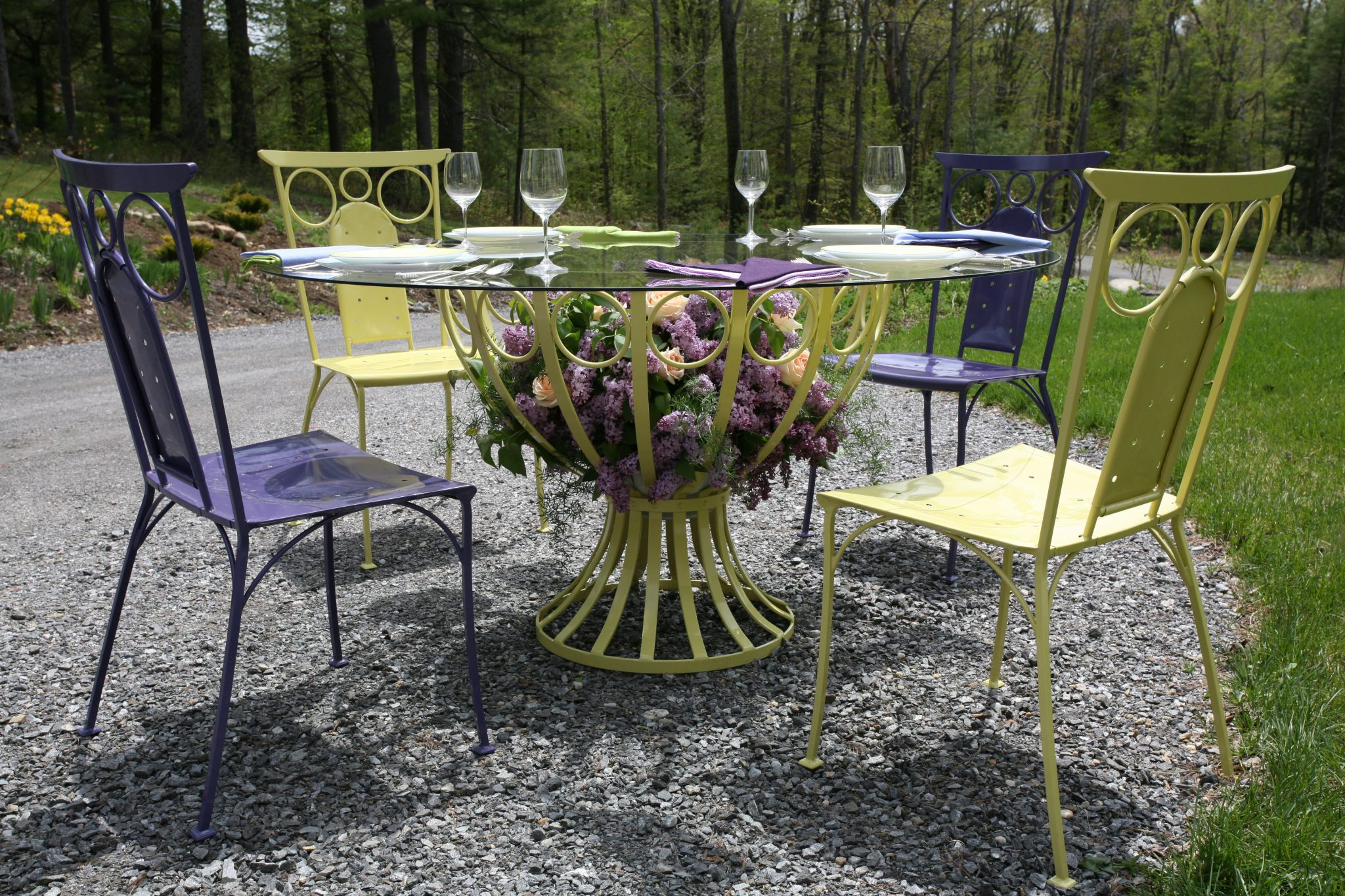My Chalice Dining Table & Lorenzo Side Chairs, set for lunch, in late Springtime.