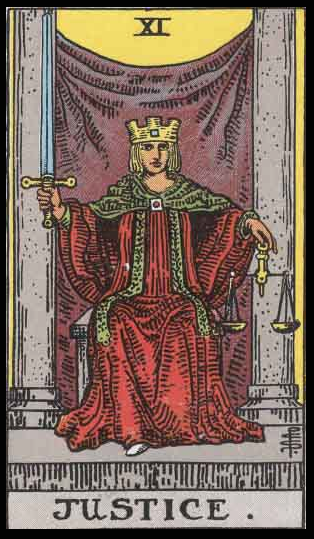 "Justice, Card VIII in Niki's Garden (although, in the Tarot, this card is # eleven). Per Niki: ""Justice implies self-knowledge. One needs to acquire an ability to judge oneself, to come to terms with our dark side. With this insight one can judge other people and situations with a compassionate eye."""