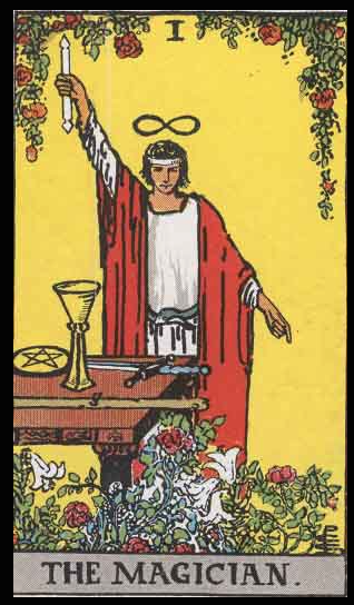 The Magician, Card I of the Tarot Deck. Note: All card images in this Diary are from Rider-Waite Deck (circa 1910) , and are the same cards which Niki de Saint Phalle referred to as she designed her Garden.