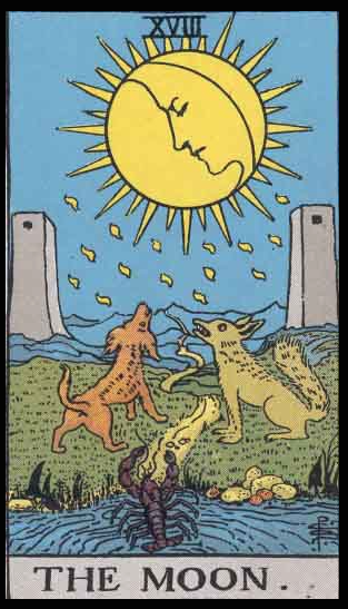 """The Moon, Card XVIII of the Tarot. Per Niki: """"The Moon is the card of creative imagination and negative illusion. The Moon is an interior card—mysterious, enigmatic. The Moon affects the tides, the menstruation of women, childbirth, and all things connected to the flow of water. The card of the Moon can be perilous or offer great imaginative power."""""""