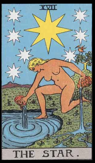 "The Star, Card XVII of the Tarot. Per Niki: ""The Star carries two jugs which spill water into stream-waters of Renewal."""