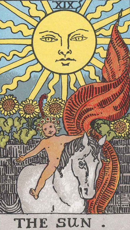 "The Sun, Card XIX of the Tarot. Per Niki: ""The Sun is a life force. I have conceived of the Sun as a Bird like those found in American Indian and Mexican legends. The bird is the creative closest to the Sun. """